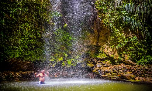 St. Lucia tours - Tropical waterfall bathing